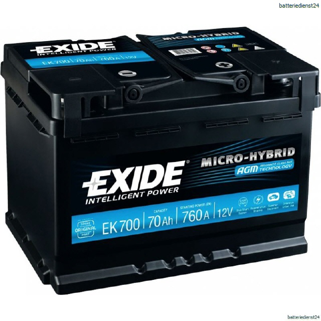EN EL700 EXIDE EFB Start-Stop 12V//70Ah 720A Erstausrüstertechnologie